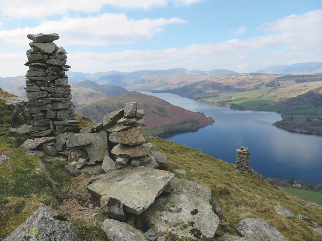 Twin curricks on Bonscale Pike overlook Ullswater and Hallin Fell in this image taken by John Maden.