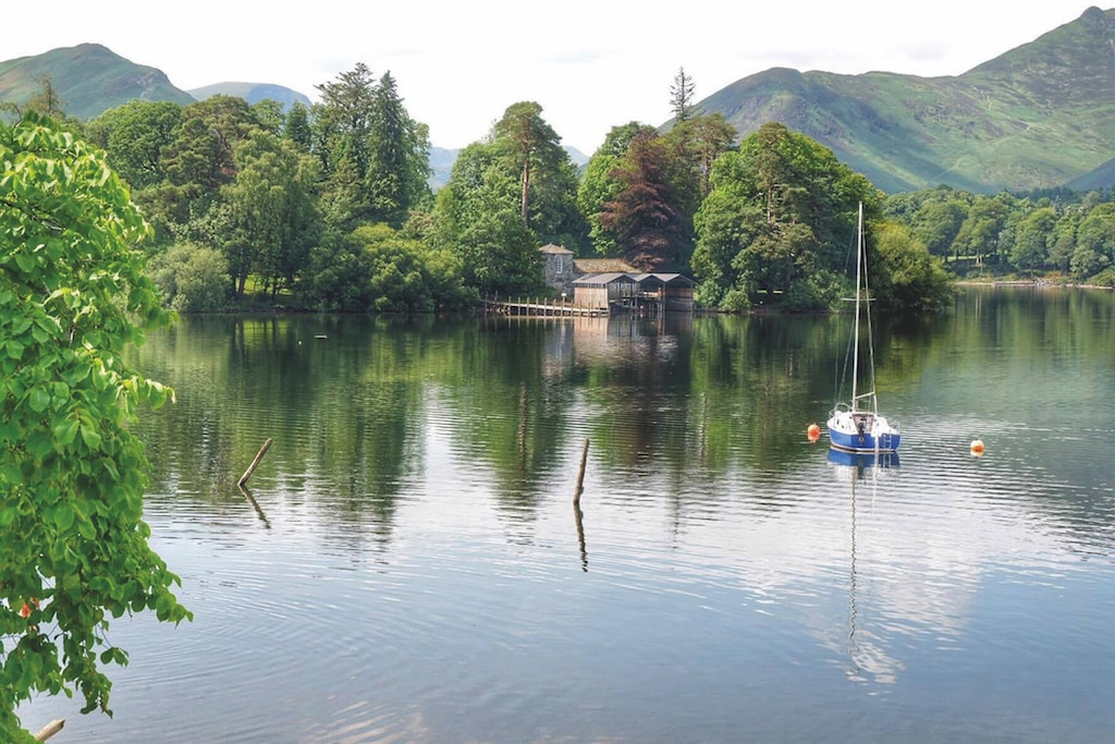 The boathouse punctuates the shoreline at Derwentwater, Keswick, by Caroline Herety, of Penrith.