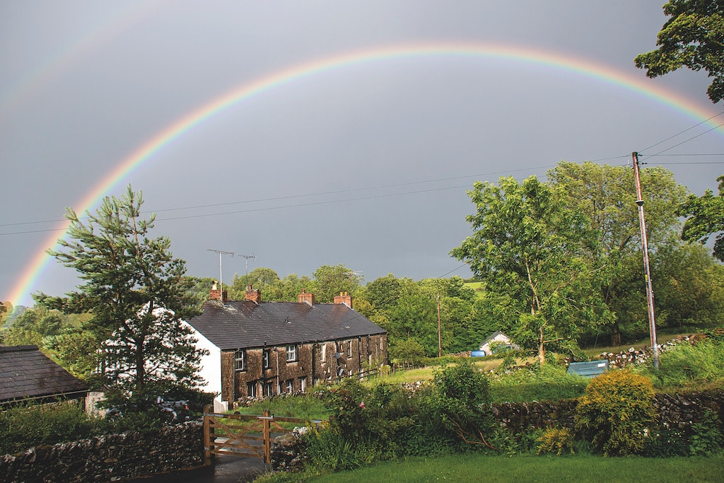 This magical shot of a rainbow arcing over cottages in his home village was taken by Jon Allen, of Great Asby.