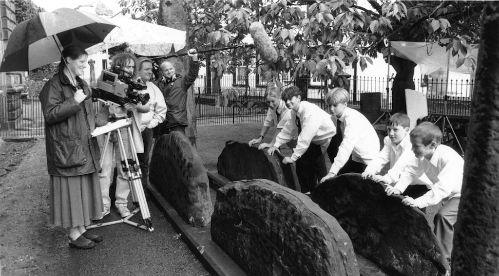 Rachel Mathews films a scene for her film The Dinner Party in St Andrew's churchyard with actors from Penrith area schools in 1995.