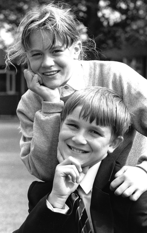 Penrith Queen Elizabeth Grammar School pupils Sophie Everiss and Robbie Huddart, who were chosen to take part in the children's television game show Fun House 25 years ago.