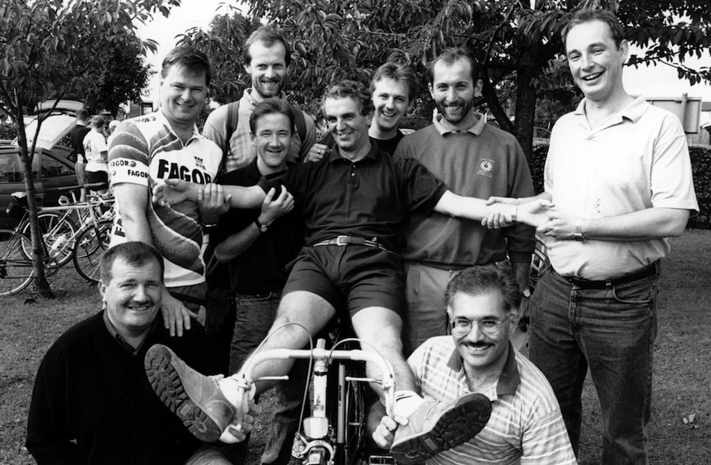 Penrith round Table members give Denis Smith a helping hand onto his bike during the fifth annual family fun cycle ride 25 years ago.