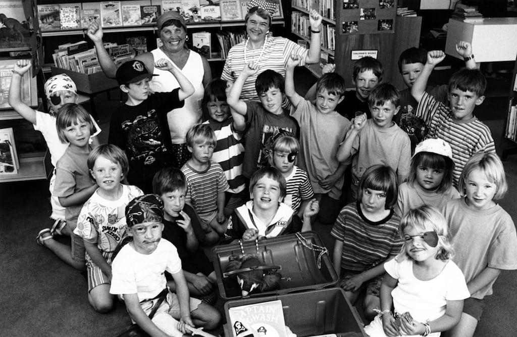 Looking suitably menacing 25 years ago were Jennifer Crossley and Irene Atkinson, of Kendal library, with some of the children who took part in a Treasure Island reading week at Appleby library.