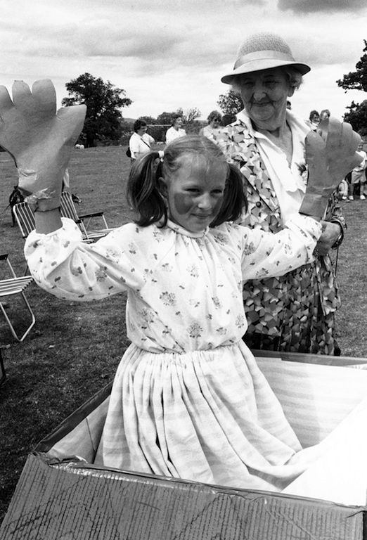 Victoria Ullyart, who won first prize in the song title or nursery rhyme section of the fancy dress competition at Kings Meaburn field day in 1995, with event opener Mrs. Jacquetta Bouch.