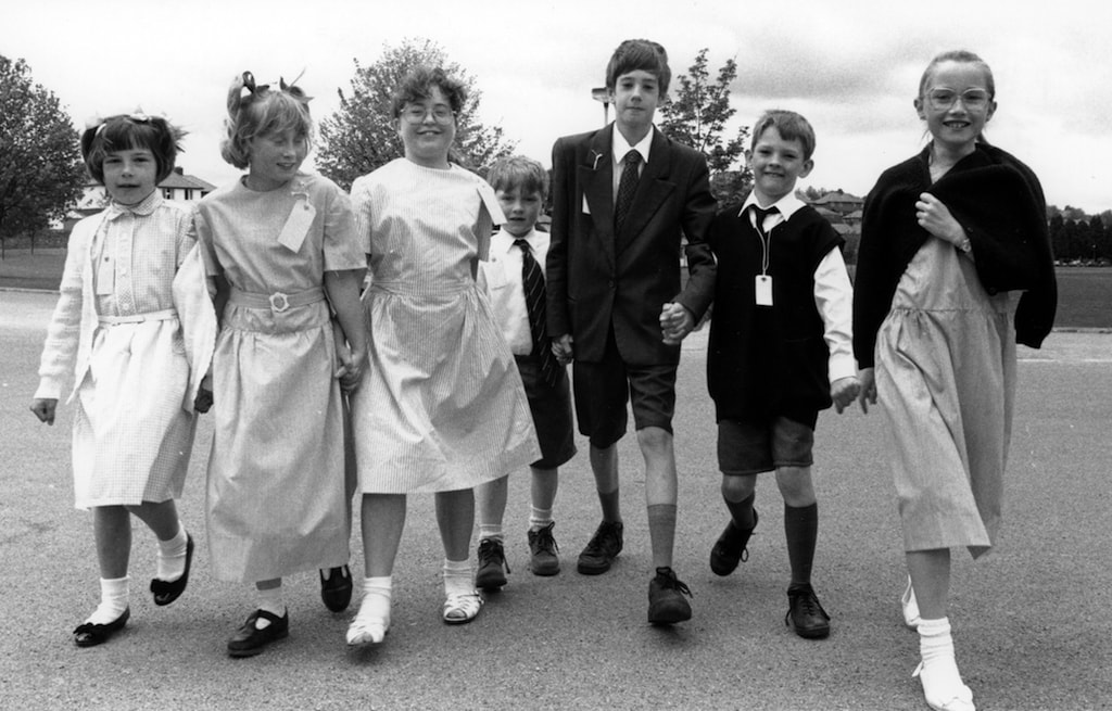 Members of Penrith Junior Players who were dressed as Second World War evacuees 25 years ago.