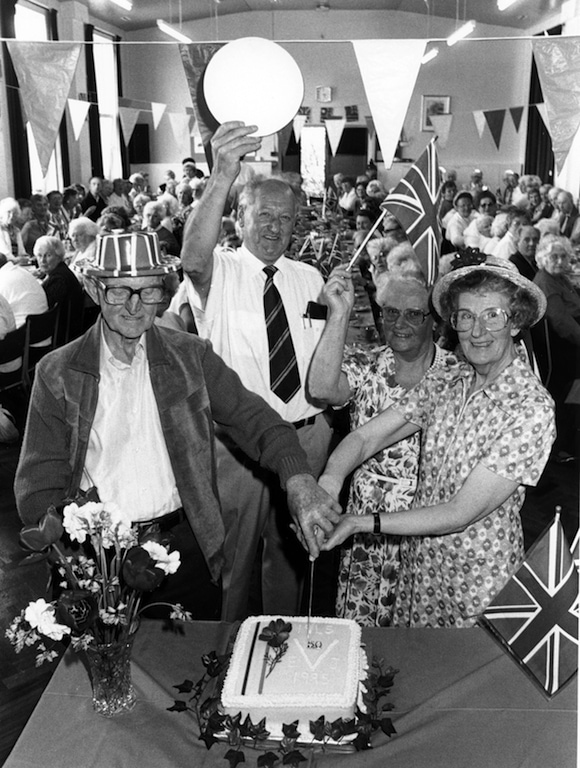 Cutting the cake at a VE Day celebration held at Penrith Evergreen Club 25 years ago are (left to right) Robinson Thompson, chairman Frank Swainson, secretary Mary Harrison and Joyce Bellas.