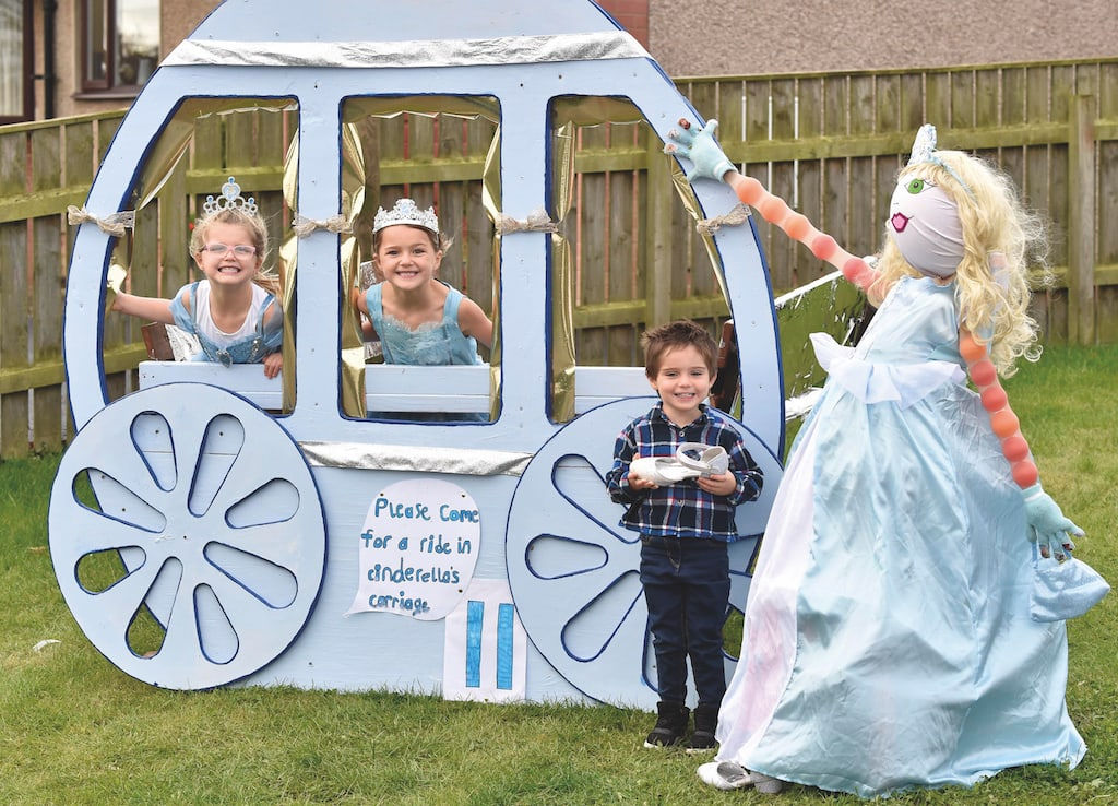 Cinderella's carriage by the Castle family..left to right..Poppy,Millie and Joey.