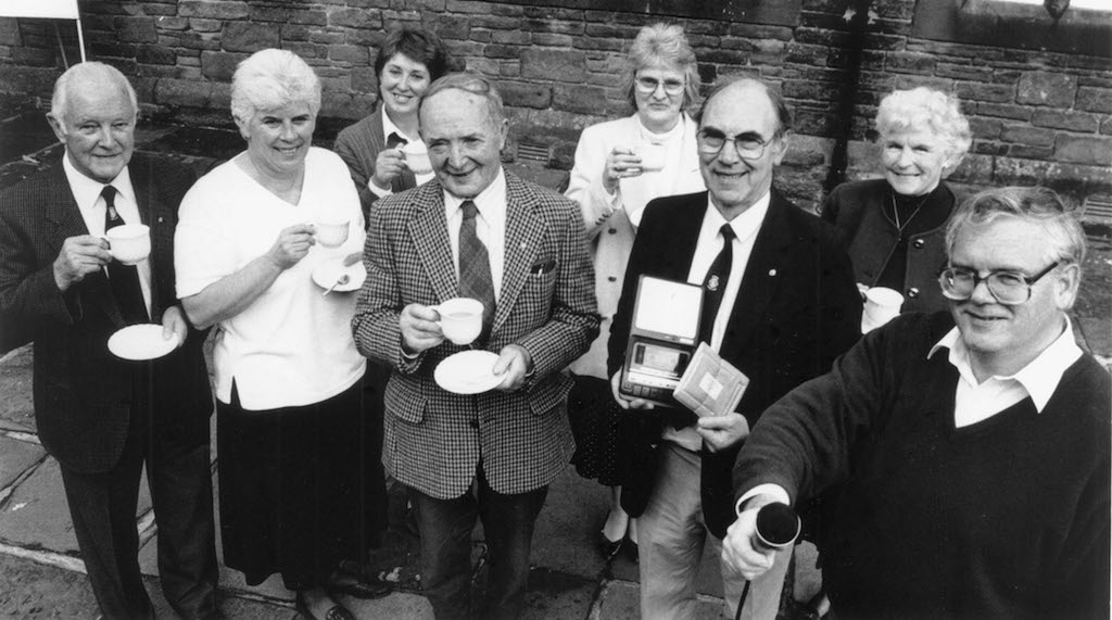 Pictured at a coffee morning held in Penrith 25 years ago to help celebrate the 500th edition of the Eden talking newspaper (left to right) are Ken Colley, Ann Edgar, Jackie Westgarth, Tom Clarke, Sadie Proud, Ian Proud, Betty Hendrie and Ian Edgar.