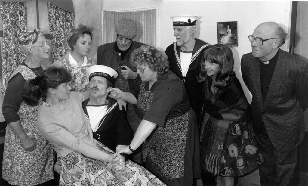 Lune Spring Players Dot Lewin, Yvonne Barns, Susanna Caldwell, Mark Tinsley, John Chadwick, Hillary Mirrey, David Morris, Caroline Morris and Mick Frost in a scene from Sailor Beware, which they performed 25 years ago at Newbiggin-on-Lune public hall.