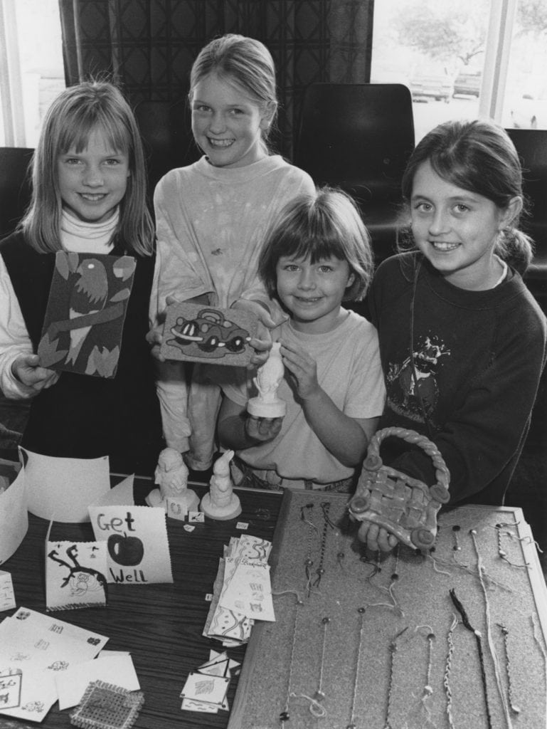 """On the handicrafts stall at a """"pick and choose"""" day held at Kirkby Stephen and district speech and therapy department in 1995 are, from left, Emily Sunderland, Kathryn Sunderland, Joyce Smithson and Laura Smithson."""