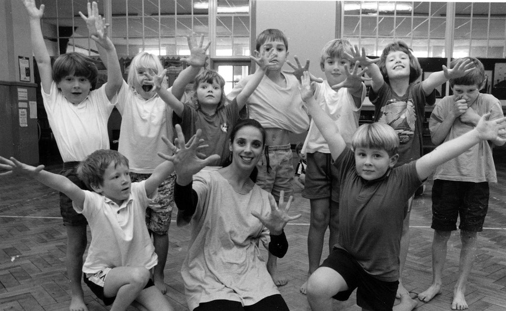 Rhian Robins, of the Contemporary Dance Trust, puts Appleby Primary School pupils through a dance and movement routine during a week-long event on the theme of light and energy held 25 years ago.
