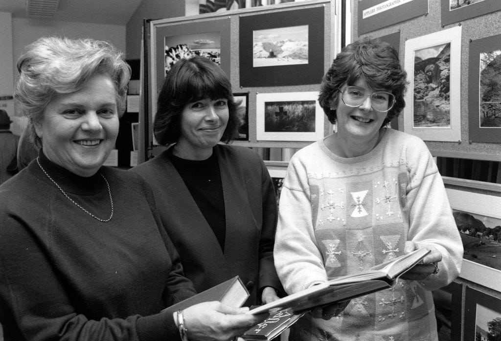 Looking at a book about Lady Anne Clifford, the subject of an exhibition at Appleby library, are (left to right) assistant-in-charge Catherine Bainbridge, community librarian Hester Gorman and senior community librarian Marilyn Smith.