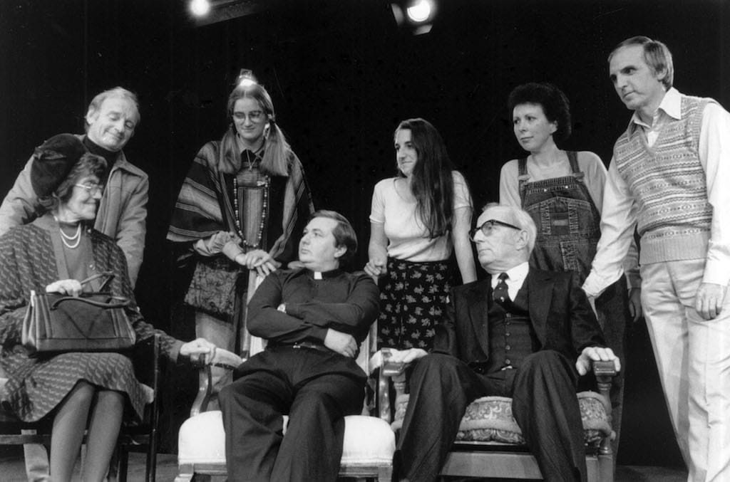 The cast of Keswick Theatre Club's 1995 production And A Little Love Besides, written by Alan Plater and produced by Rose Harper. From left to right are Barbara Bragg, Warren Elsby, Zoe Longley, Aleissandraos Paris, Rachel Davis, Arthur Arnold, Melanie Fisher and Derek Kitchingman.
