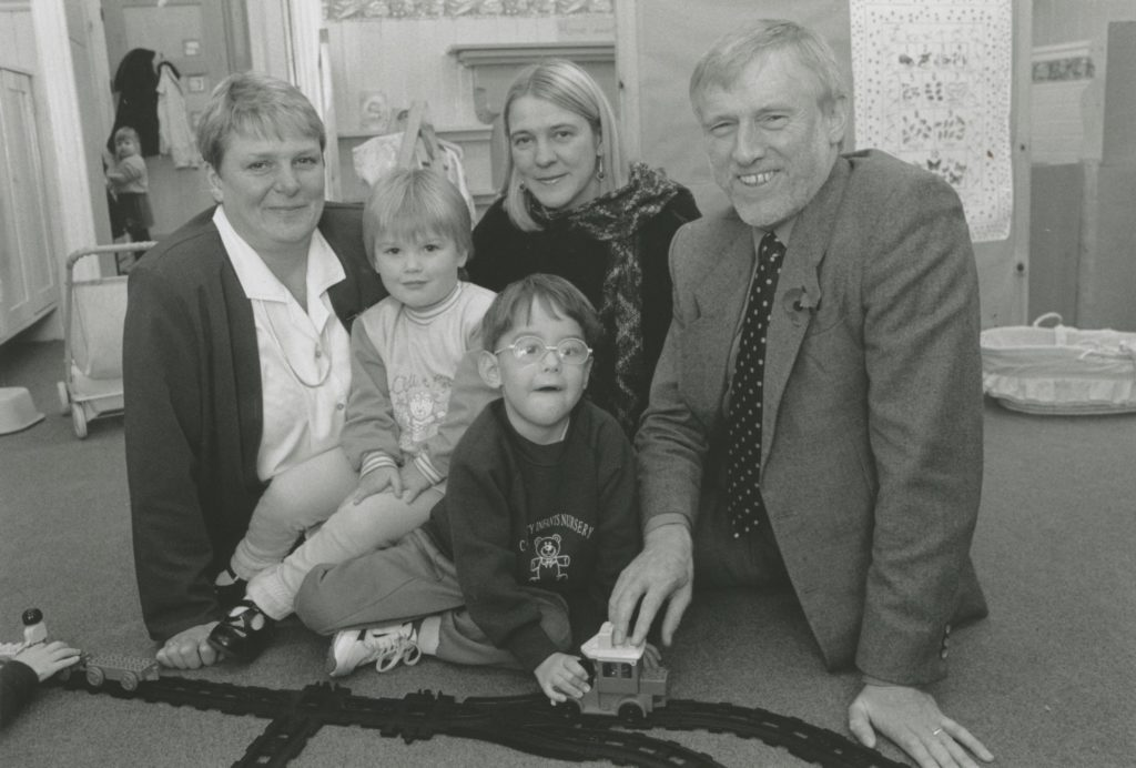 Penrith's first local authority nursery was opened 25 years ago at the County Infants' School, Brunswick Road. Pictured (left to right) are Judith Bowman, the primary schools inspector, who opened the new nursery, headteacher Pat Cave and Cumbria director of education John Nellist, getting to grips with a model train set, helped by Victoria Wilson and Craig Wooley.