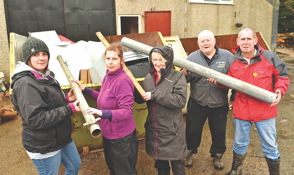 Loading up skips are (left to right) Tracy Clifford, Zoe Witterick, mayoress Ann Potts, mayor Hughie Potts and Robert Williams.