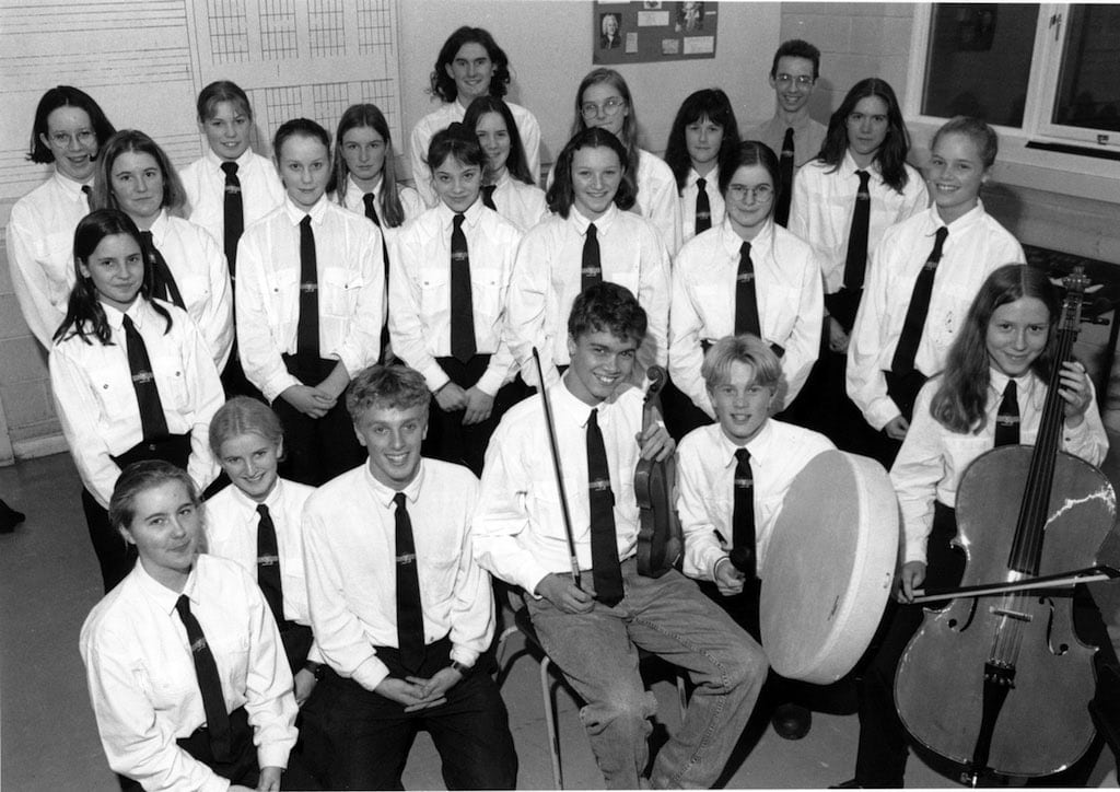 Singers and musicians from Penrith's Ullswater Community College who won through to the northern semi-finals of the Music in the Community Awards contest in 1995. The College Concert Choir and folk group Tich and the Bigots both won places in the semi-finals.