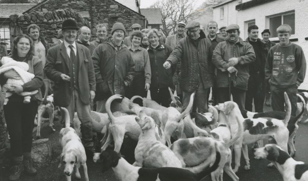 Ullswater Foxhounds huntsman Dennis Barrow with hounds and followers of the pack at Patterdale on New Year's Day, 1996.