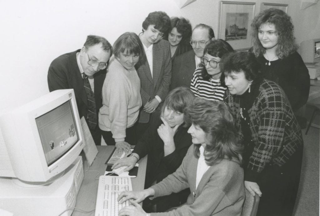 Staff and students from Newton Rigg College, Penrith, demonstrate computer equipment to people who visited a display of graphic and multi-media work held at Penrith library in 1996.