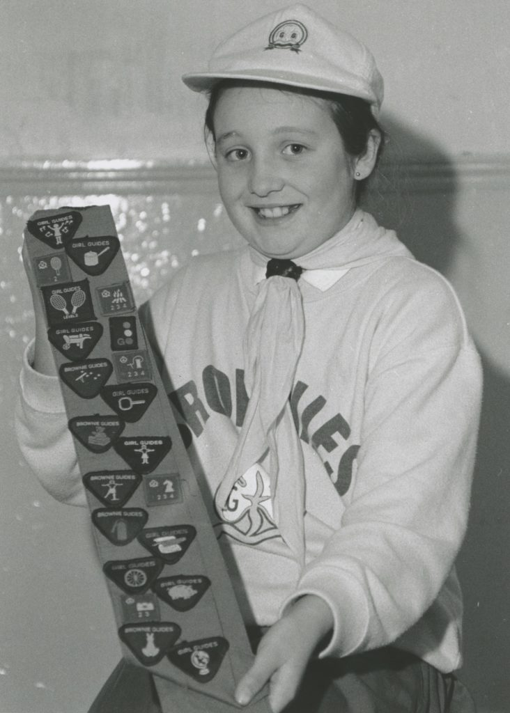 Vicky Fawcett, who left the 1st Kirkoswald brownies 25 years ago having gained an impressive 31 achievement badges.