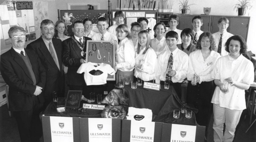 Youngsters from Penrith's Ullswater Community College's Young Enterprise company, Allsorts, who were preparing for a trade fair on Malta 25 years ago, are pictured with (left to right) Tony Parrini, chairman of Eden Young Enterprise; David Robinson, Ullswater College headmaster; and Bernard Thornborrow, Eden Council chairman.