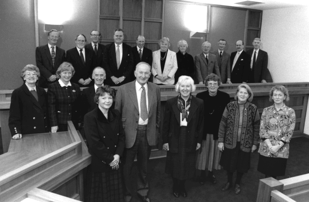 Chairman George Wilson and magistrates inspect the refurbished courtroom at Penrith 25 years ago