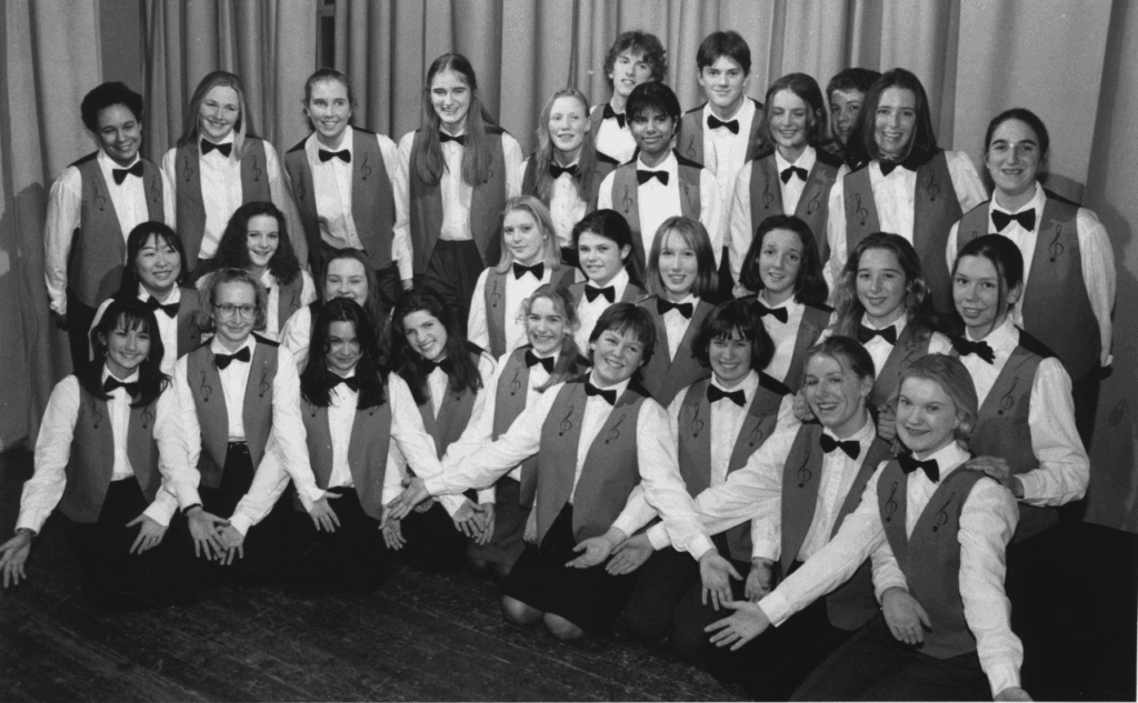 In full voice are members of the award-winning Keswick School Choir who performed at a talent evening held in the Rawnsley Hall 25 years ago.