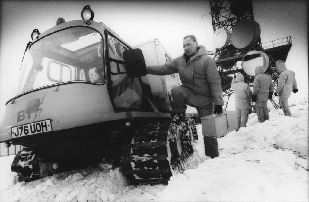 Engineers arrive in an Octad all -terrain vehicle to keep telecommunications links open at BT's microwave radio station on Two Top Fell, near Penrith, 25 years ago