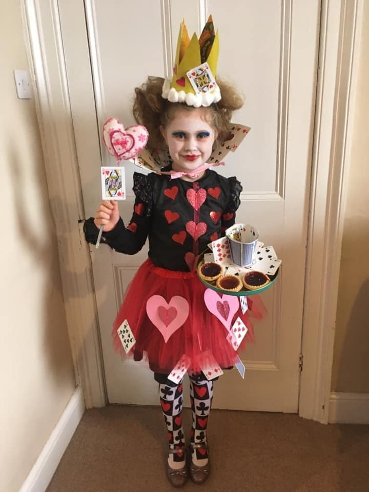 Olivia Steel loves being The Queen of Hearts from Alice in Wonderland, from Kirkby Stephen Primary School