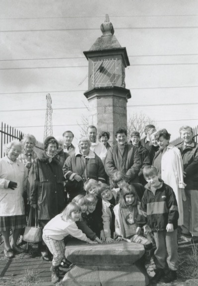 The Rev Jim Radcliffe surrounded by Brougham and Clifton parishioners at the Brougham dole ceremony 25 years ago, held at the Countess' Pillar by the A66 near Penrith.