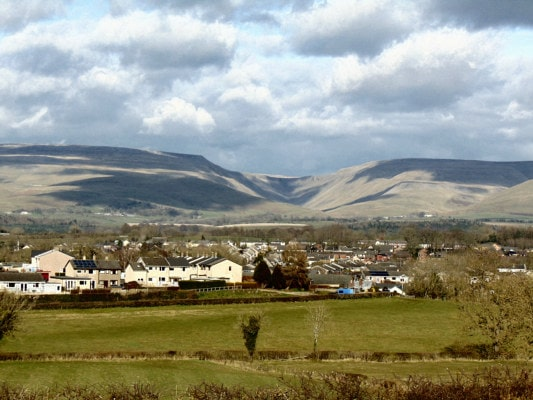 Appleby in the foreground with High Cup Nick in the distance by Caroline Shaw of Bleatarn