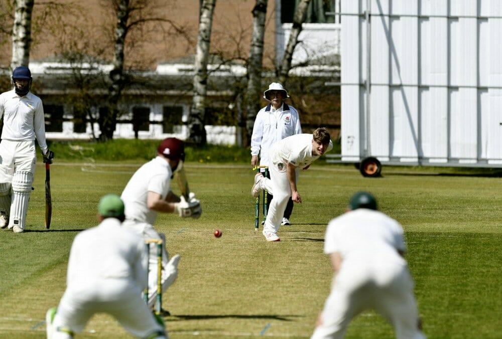 Cricket. Penrith v Eccleston Cricket Club. Bowler James Ellis: 24 April 2021 STUART WALKER  Stuart Walker Photography 2021