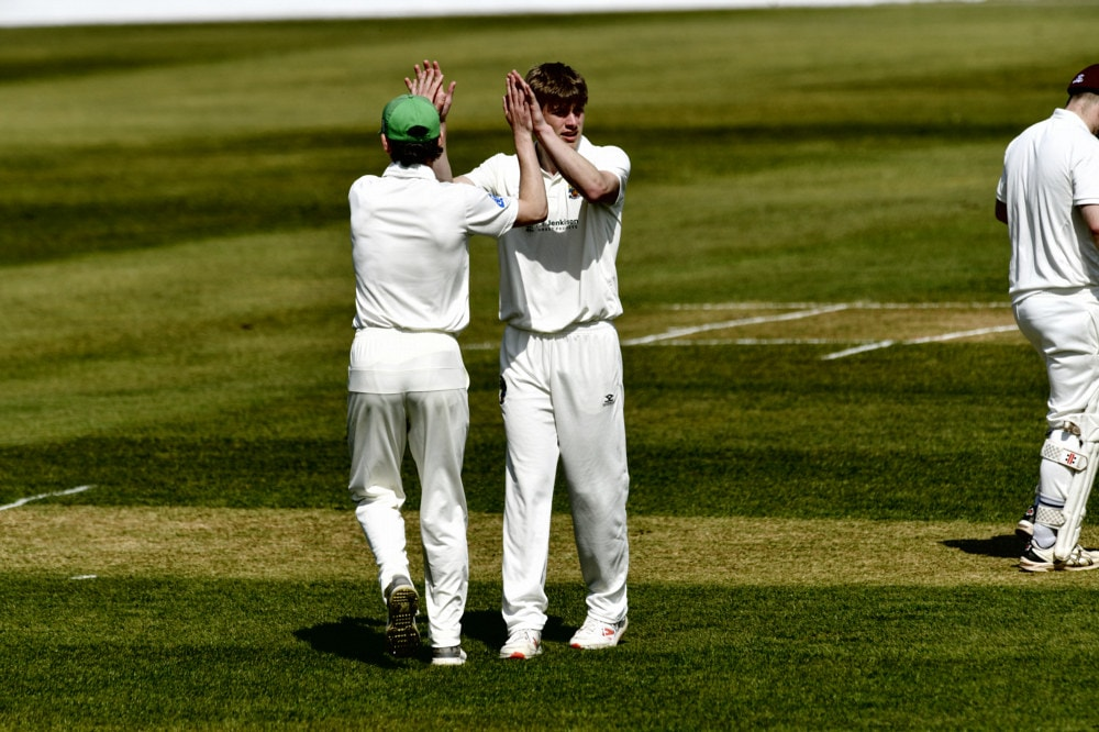 Cricket. Penrith v Eccleston Cricket Club. Bowler James Ellis (right) celebrates taking a wicket: 24 April 2021 STUART WALKER  Stuart Walker Photography 2021