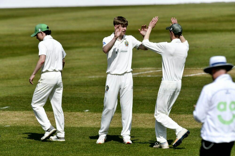 Cricket. Penrith v Eccleston Cricket Club. Bowler James Ellis (centre) celebrates taking a wicket: 24 April 2021 STUART WALKER  Stuart Walker Photography 2021