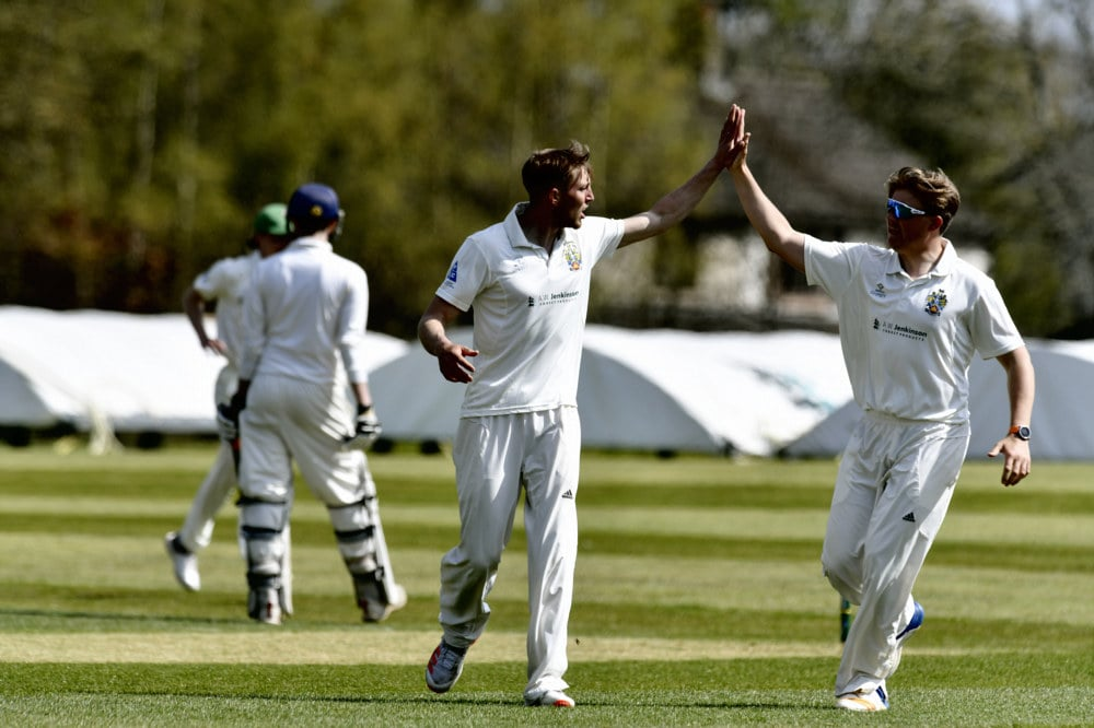 Cricket. Penrith v Eccleston Cricket Club. Bowler Asher Hart (left) celebrates taking a wicket with Bruce Glendinning: 24 April 2021 STUART WALKER  Stuart Walker Photography 2021