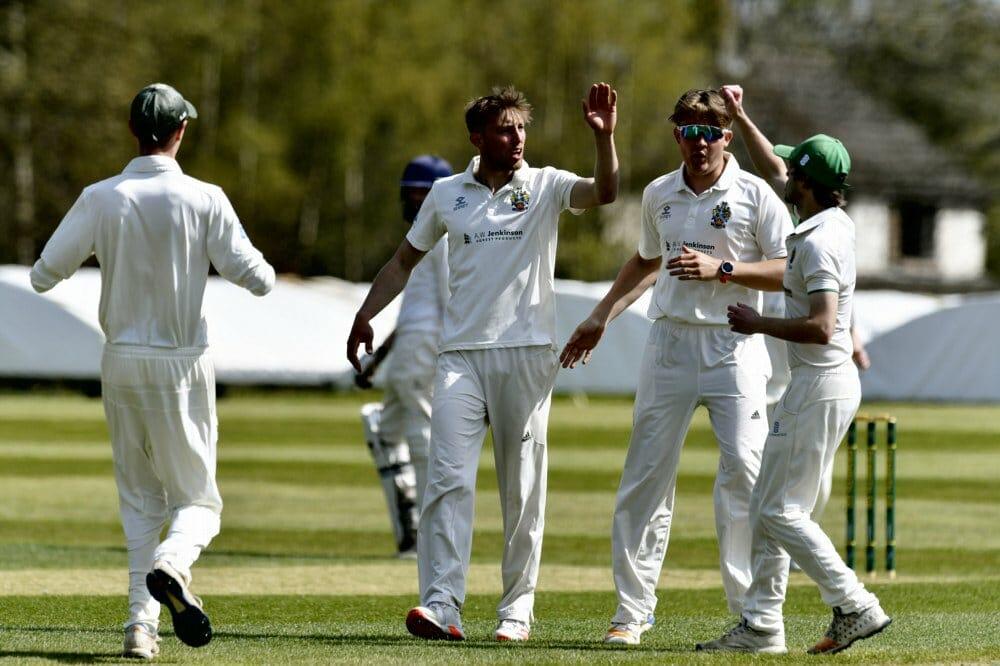 Cricket. Penrith v Eccleston Cricket Club. Bowler Asher Hart (centre) celebrates taking a wicket: 24 April 2021 STUART WALKER  Stuart Walker Photography 2021