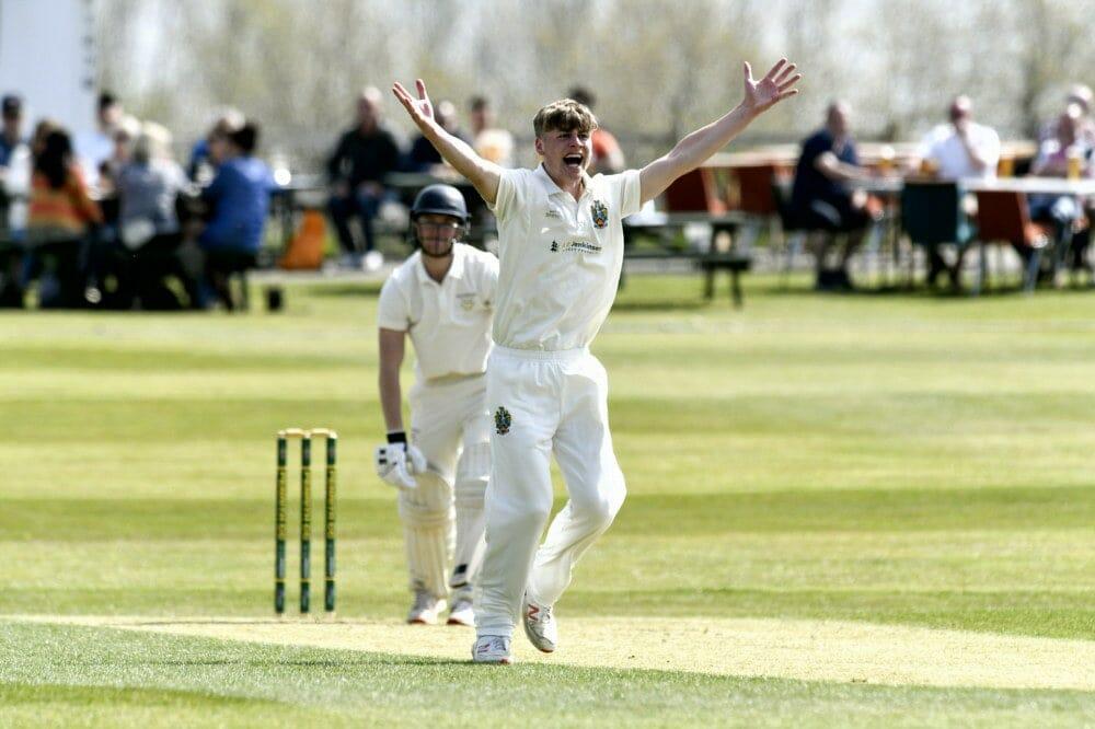 Cricket. Penrith v Eccleston Cricket Club. James Ellis appeals for LBW: 24 April 2021 STUART WALKER  Stuart Walker Photography 2021