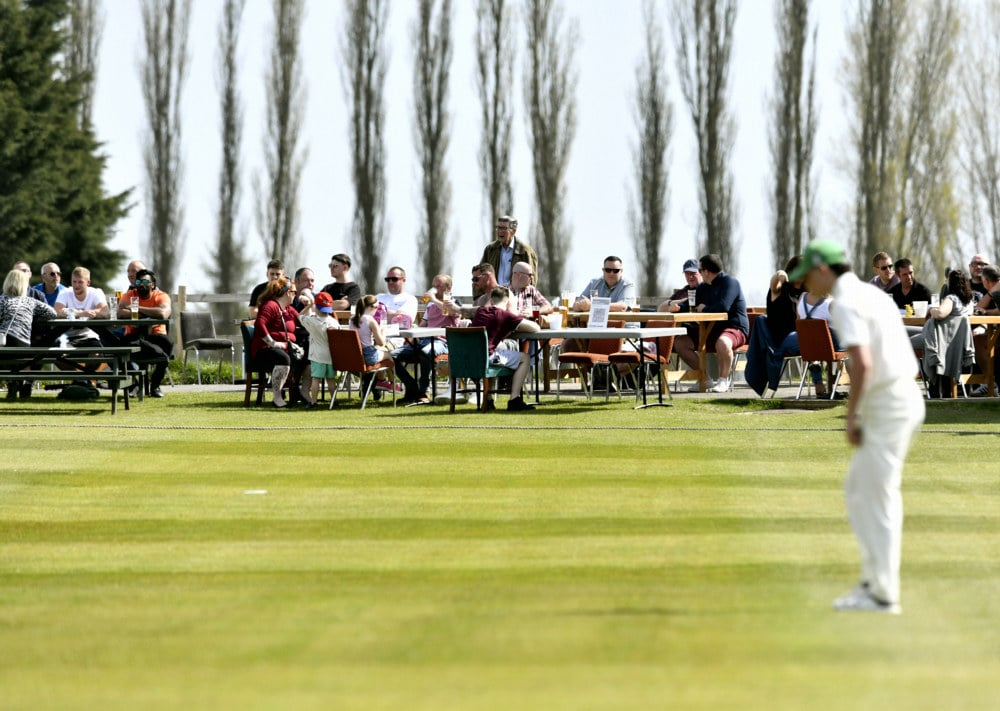 Cricket. Penrith v Eccleston Cricket Club. Beer garden open to customers watch the match: 24 April 2021 STUART WALKER  Stuart Walker Photography 2021