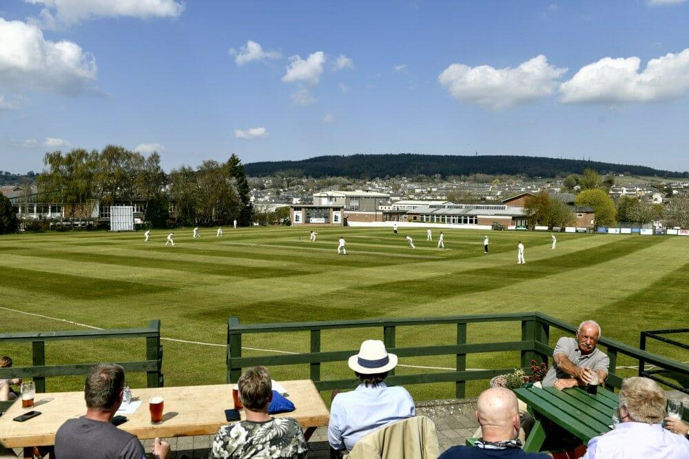 Cricket. Penrith v Eccleston Cricket Club. People watch the match from the beer garden: 24 April 2021 STUART WALKER  Stuart Walker Photography 2021