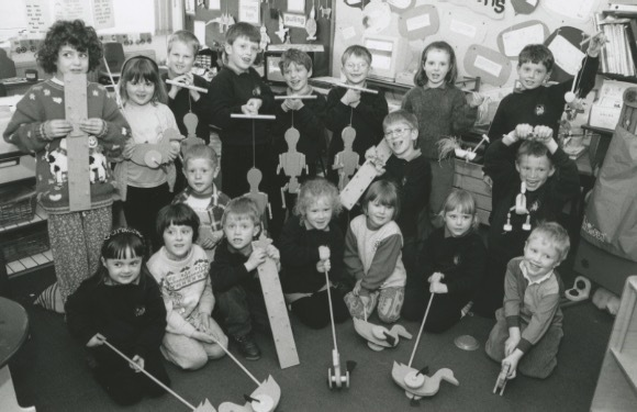 Children from Long Marton School with puppets they made as part of a project during the spring term in 1996.