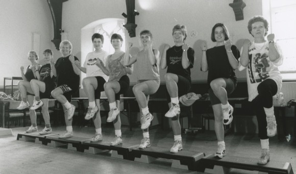 Alston women toned their bodies and raised funds for the town's gala and pre-school play group through a sponsored stepathon and aerobics session in the town hall 25 years ago.