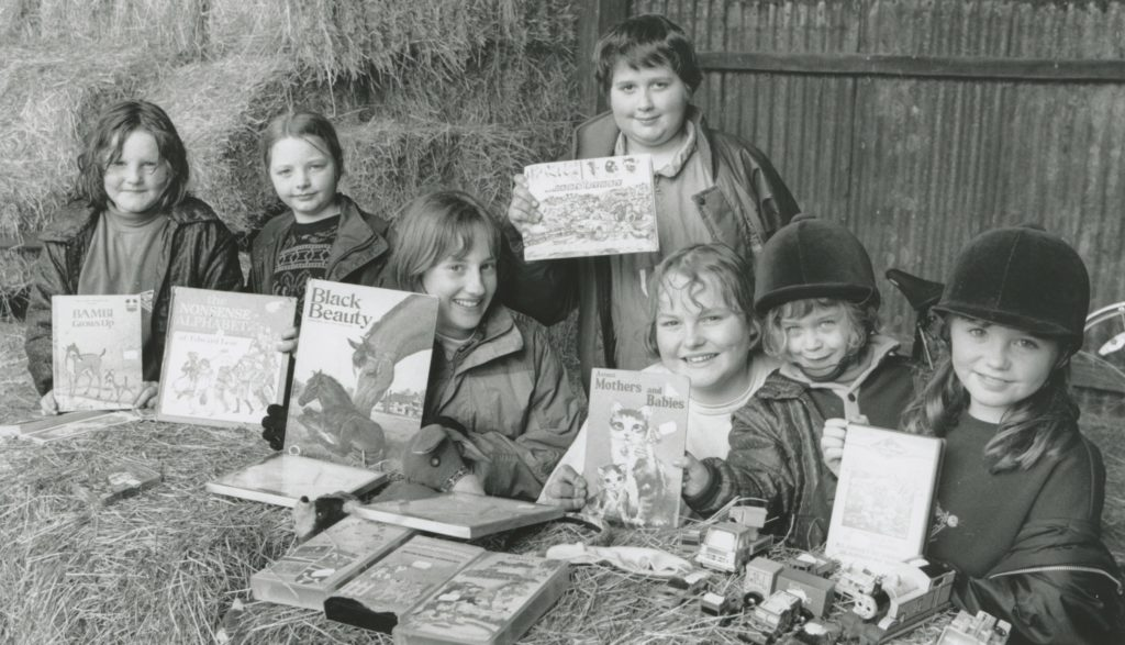 Some of the children who sold books and toys at a sponsored ride organised by Bob Atkinson, Sarah Robinson and Pamela Ireland, of Grey Horse Stables, Brough, to raise money for te urology department at the Cumberland Infirmary. Left to right: Sarah Olley, Samantha Kirkby, Anne Marie Gilpin, Joanne Metcalfe, Lucy Satterthwaite, Kerry McDiarmid and Kirsty McDiarmid.