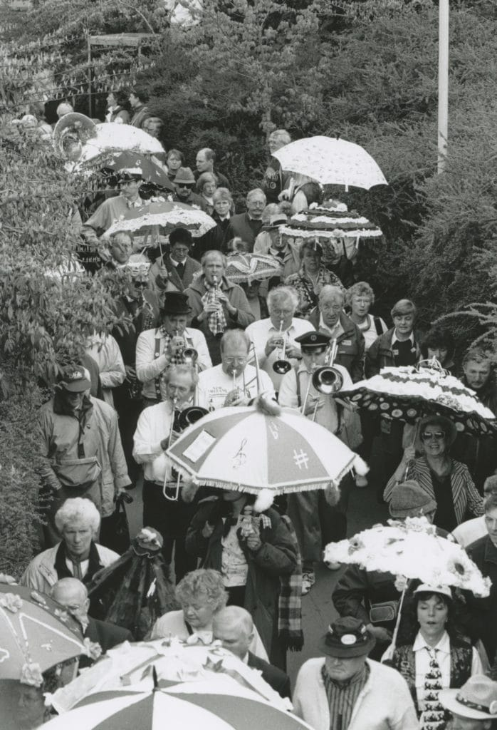 Jazz enthusiasts wend their way to the shores of Derwentwater during the Keswick jazz festival 25 years ago.