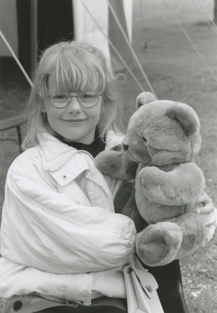 Danielle Dixon was accompanied by her teddy bear at a bank holiday event held at Christian Head care home, Kirkby Stephen, 25 years ago.