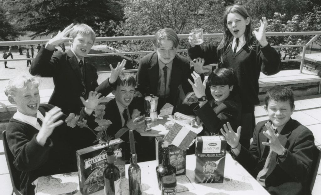 Keswick School pupils who took part in an Italian day 25 years ago. Left to right are Kate Cubby, John Paul Fidrmuc, Paul Cromwell Andrew Turnbull, Andrew Mossop, Lindsay Noblett and Stephen Pritt.