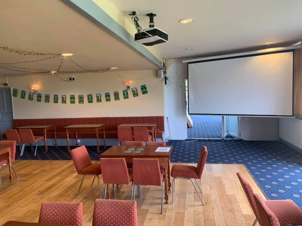 The function room at Penrith Cricket Club all set to screen live sport