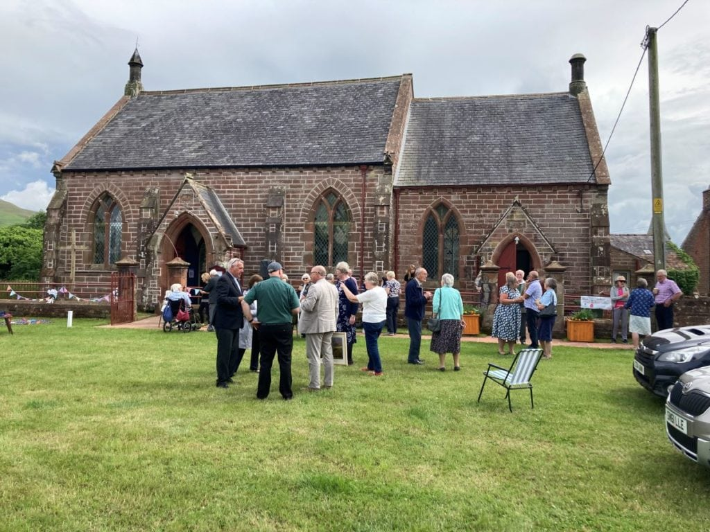 Wedding day at Victorian chapel and schoolroom in Gamblesby